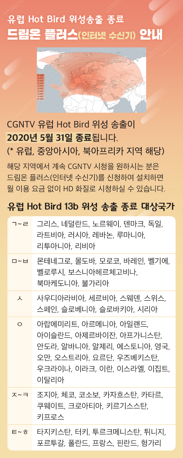 유럽 Hot Bird 위성송출 종료 - 드림온 플러스(인터넷 수신기) 안내