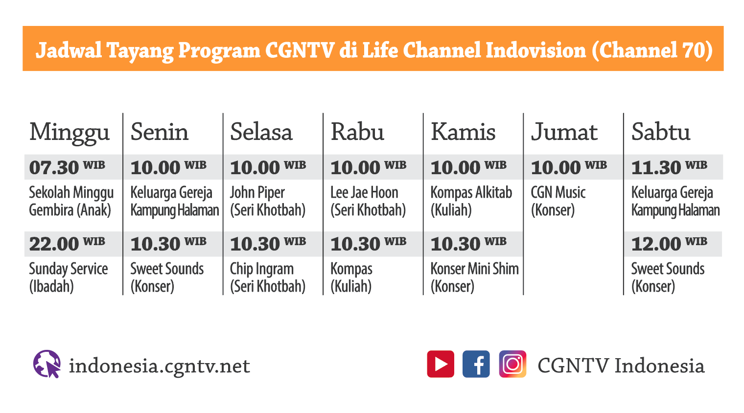 CGNTV di Life Channel Indovision (Channel 70)